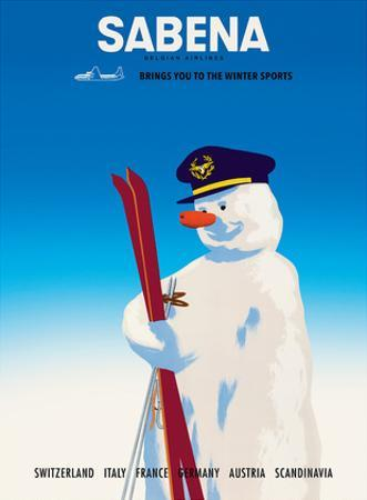 Sabena Brings You to The Winter Sports - Sabena Belgian World Airlines by Pacifica Island Art