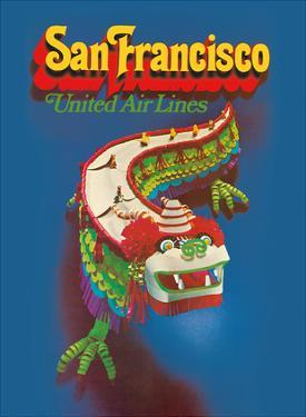 San Francisco California - United Air Lines - Chinese Dragon Dance by Pacifica Island Art