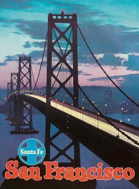 San Francisco - Golden Gate Bridge - Santa Fe Railroad by Pacifica Island Art