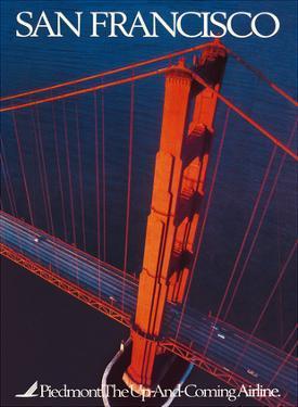 San Francisco - Piedmont Airlines - Golden Gate Bridge by Pacifica Island Art
