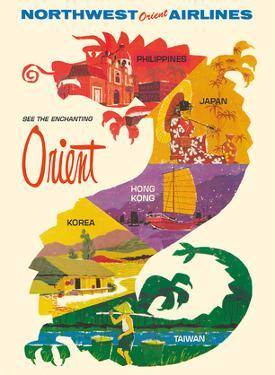 See the Enchanting Orient - Northwest Orient Airlines by Pacifica Island Art