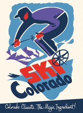 Ski Colorado - Colorado Climate... The Magic Ingredient - Downhill Skier by Pacifica Island Art