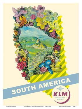 South America - Rio De Janeiro, Brazil - KLM Royal Dutch Airlines by Pacifica Island Art