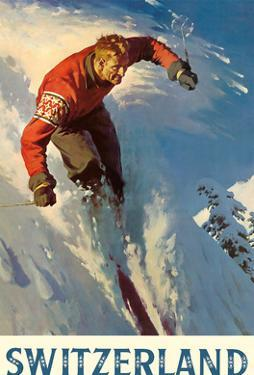 Switzerland - Alps Skiing by Pacifica Island Art
