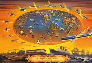 The Progress of Transportation - Pan American World Airlines Air Routes by Pacifica Island Art