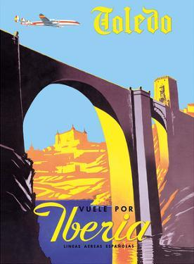 Toledo, Spain - The Imperial City - Vuele Por (Fly by) Iberia Air Lines of Spain by Pacifica Island Art