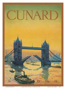 Tower Bridge, England - Cunard Line - Front Cover Passenger List T.S.S. Tuscania by Pacifica Island Art