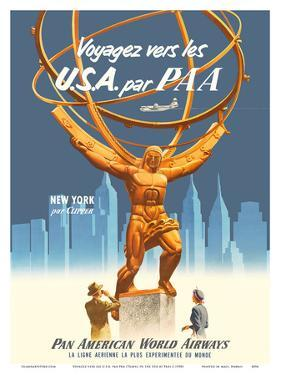 Travel to the USA by PAA - New York par Clipper - Pan American World Airways by Pacifica Island Art