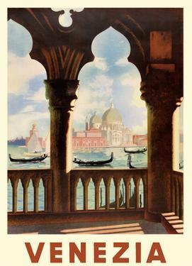 Venezia (Venice), Italy - Gondolas on Grand Canal - St. Mark's Basilica (Basilica di San Marco) by Pacifica Island Art
