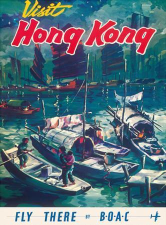 Visit Hong Kong - Hong Kong Harbor - BOAC (British Overseas Airways Corporation) by Pacifica Island Art