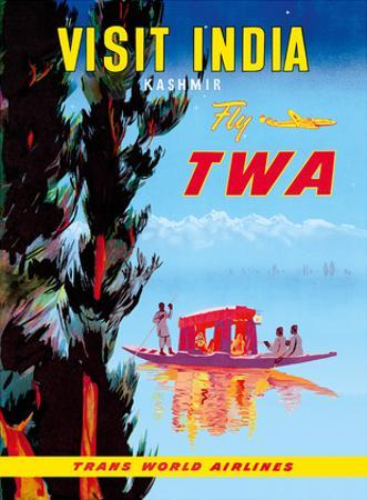 Visit India - Kashmir - Fly TWA by Pacifica Island Art