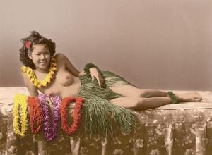 Young Topless Hawaiian Girl - Classic Vintage Hand-Colored Tinted Art by Pacifica Island Art