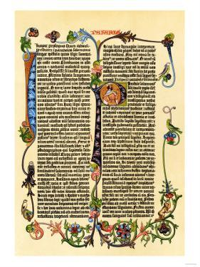 Page of Gutenberg's 42-Line Bible, Printed in the 1450s, Probably the First Use of Movable Type