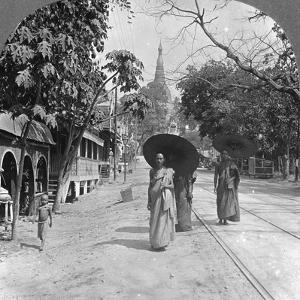 Pagoda Road to the Shwedagon Pagoda, Rangoon, Burma, 1908