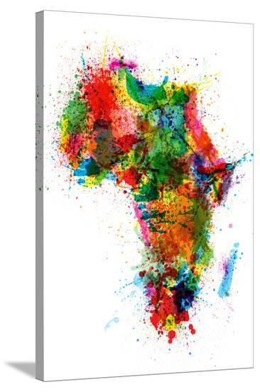 Paint Splashes Map of Africa Map-Michael Tompsett-Stretched Canvas Print