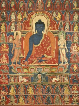 Painted Banner (Thangka) with the Medicine Buddha (Bhaishajyaguru), 14th Century