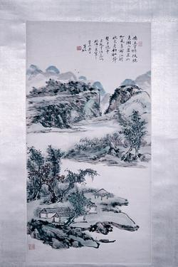 """Painting by Huang Pin-Hung:""""Mountain Landscape with Hermit Settlements"""""""