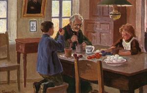 Painting Easter Eggs by M Germaschev