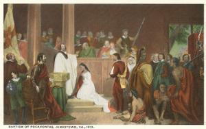 Painting of Baptism of Pocahontas, Jamestown, Virginia