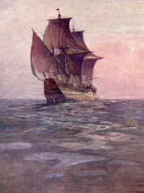 Painting of the Mayflower, Ship That Carried Pilgrims from England to New England Shore of America