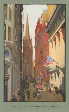 Painting of Trinity Church, Wall Street, New York City