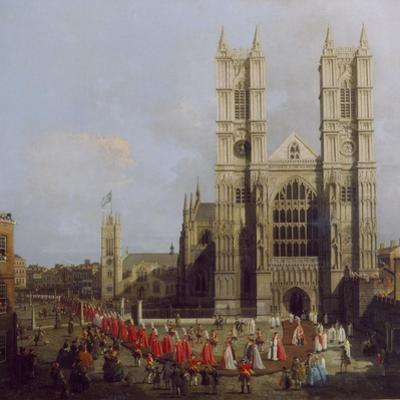 Painting of Westminster Abbey with Procession of Knights of the Order of the Bath by Canaletto