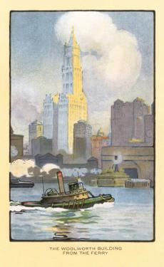 Painting of Woolworth Building from Ferry, New York City