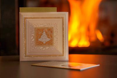Christmas cards, fireplace with fire on background