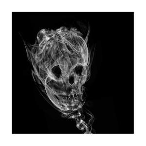 Skull Made Up Of Smoke, Black Background by Pakmor