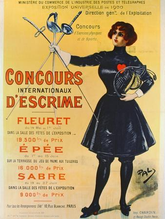 Poster Advertising the International Fencing Competitions, 1900