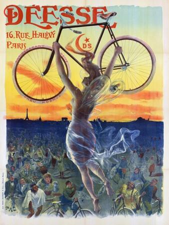 Vintage French Poster of a Goddess with a Bicycle, C.1898