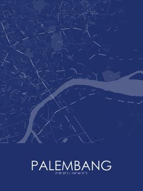 Palembang, Indonesia Blue Map