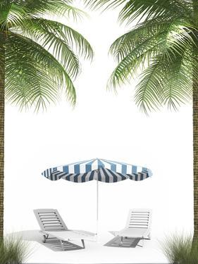 Pending Holidays - Isolated Palm Trees Umbrella and Plank Bed by Palto