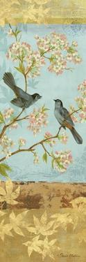 Catbirds and Blooms Panel by Pamela Gladding