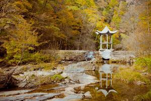 Pavilion with Autumn Foliage beside River. by Pan Hong