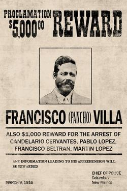Pancho Villa Wanted Sign Plastic Sign