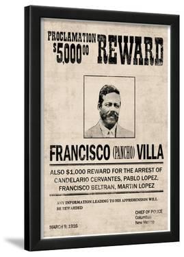 Pancho Villa Wanted Sign Print Poster