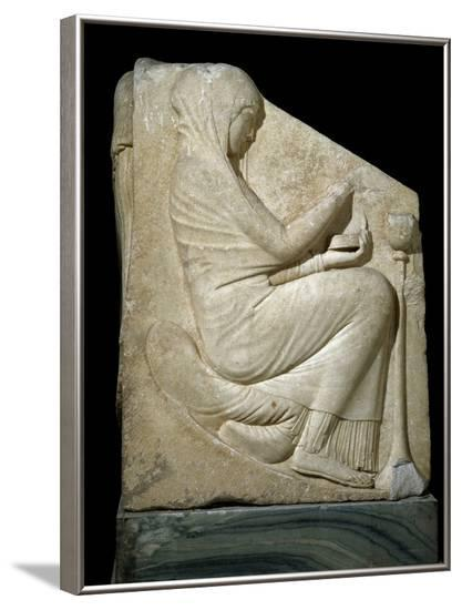 Panel of Ludovisi Throne : Woman Placing Incense in a Thymiaterion--Framed Photographic Print