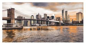 Brooklyn Bridge and Lower Manhattan at sunset, NYC by Pangea Images