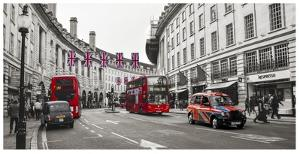 Buses and taxis in Oxford Street, London by Pangea Images