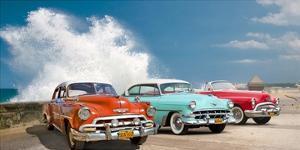Cars in Avenida de Maceo, Havana, Cuba by Pangea Images
