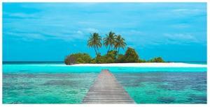Jetty and Maldivian island by Pangea Images