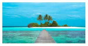 Jetty and Maldivian island by Pangea Images