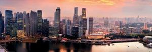 Panorama of Singapore from Marina Bay Sand Resort at Sunset