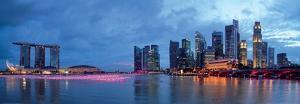 Panorama of Singapore Skyline and River