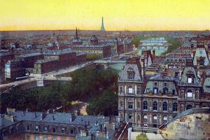Panorama of the Eight Bridges, from 'Souvenirs De Paris - Monuments Vues En Couleurs'