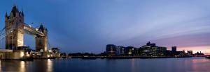 Panoramic Evening Time Shot of Tower Bridge and City of London by Nagy R