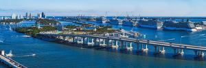 Aerial View of South Beach and Venetian Islands with cruise ship terminal in the background, Mia... by Panoramic Images