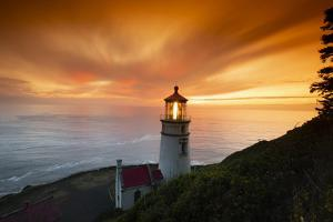 Cape Meares Lighthouse at golden hour, Tillamook County, Oregon, USA by Panoramic Images