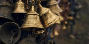 Close-up of prayer bells inside the Muktinath Temple, Mustang District, Gandaki Pradesh, Nepal by Panoramic Images